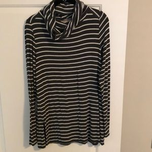 Striped/long sleeve/cowl neck sweater